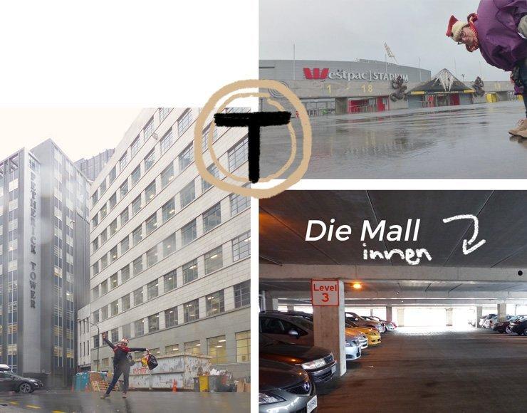 The Tribe Drehort in Wellington - Die Mall von Innen und Techno HQ von außen