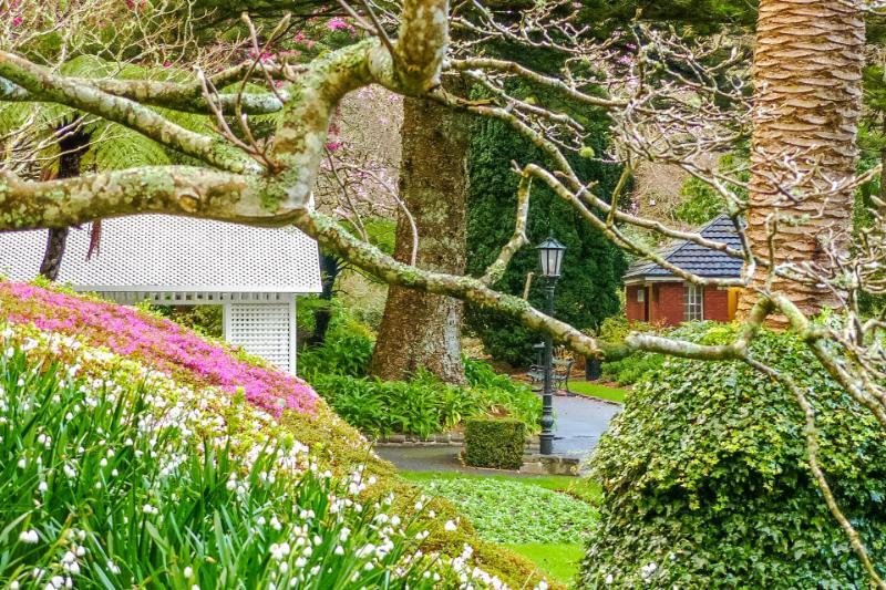 Pavillon im botanischen Garten in Wellington im Grünen
