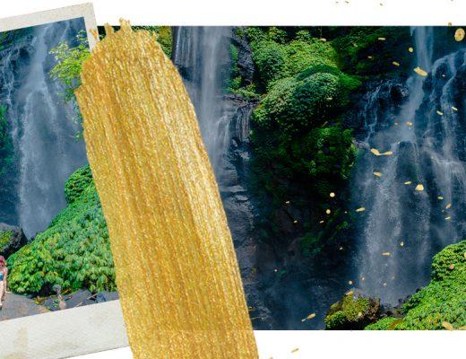 Szenen vom Sekumpul Wasserfall in Bali