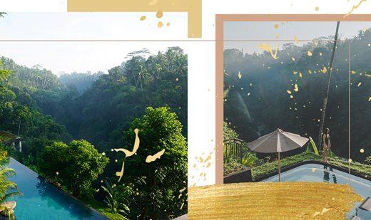 Hotels in Ubud, Bali, umringt von Reisdfeldern