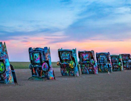 Cadillac Ranch at sunset - Travel Texas