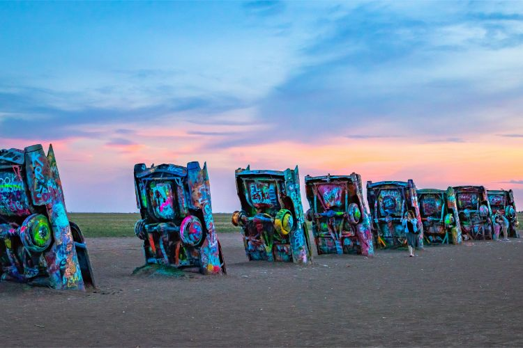 Cadillac Ranch at sunset - Travel Texas