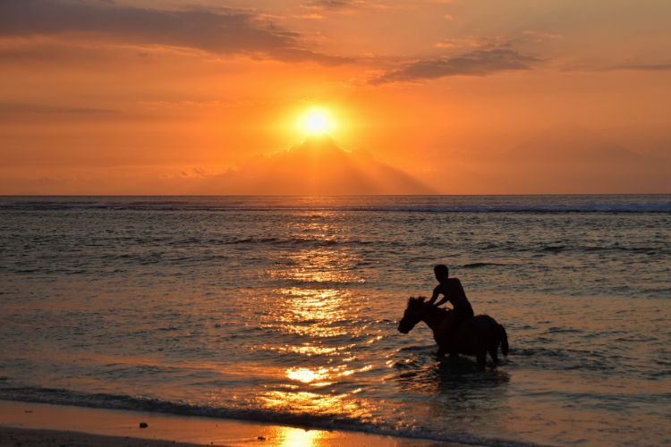 Sonnenuntergang über den Gili Inseln it Pferd am Strand