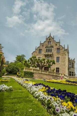 Blumenbeet vor Schloss Altenstein