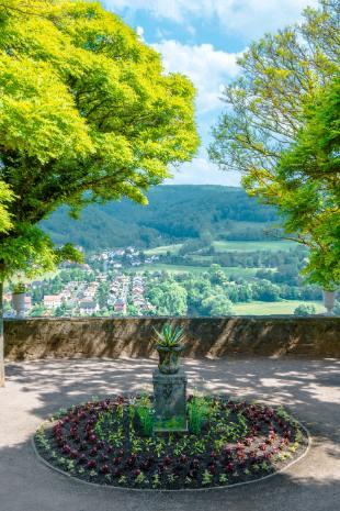 Blumenbeet mit Ausblick auf Dornburg