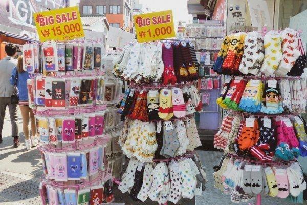 Bunte Socken in Seoul's Hongdae, Südkorea