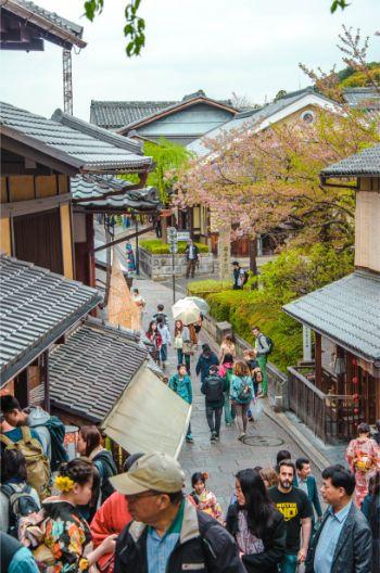 Blick auf historische Häuser in Kyoto