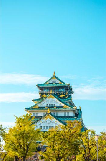 Osaka Burg umringt von grünen Bäumen