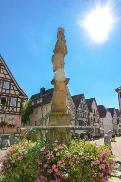 Marktbrunnen Murrhardt mit Wappenschild und Blumen