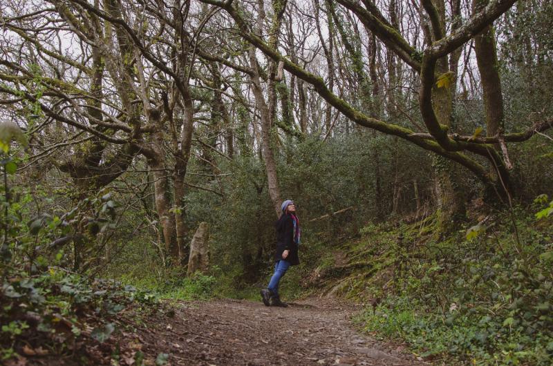 Frau beim Waldspaziergang in Ashburton, England