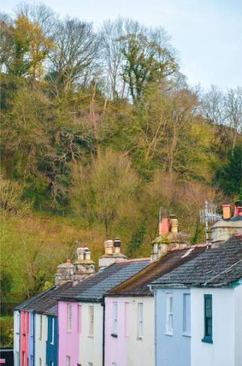 bunte Häuser in Ashburton, England