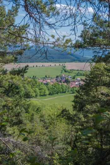 Blick auf den Ort Kochberg in Thüringen im Frühling