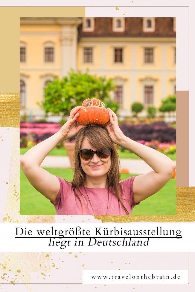 Pinterest Pin von Frau mit Kürbis auf dem Kopf und Überschrift des Artikels